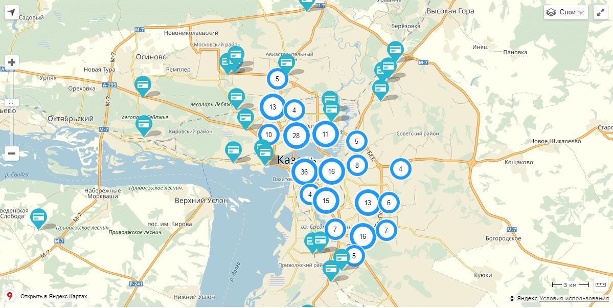 карта банкоматов и офисов ак барс банка