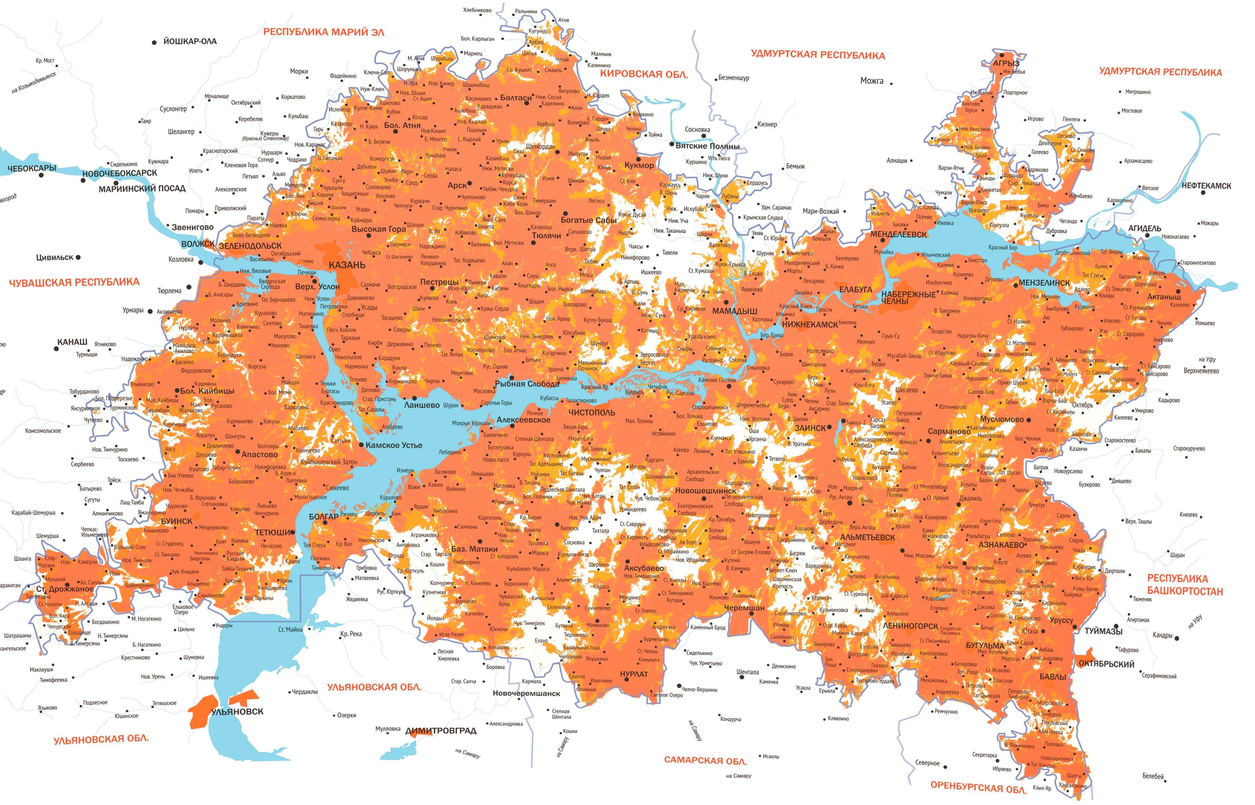 Карта покрытия мобильного оператора Летай 2G, 3G, 4G(LTE)